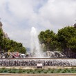 Fountain Paseo de Gracia and Gran Via Barcelona Spain — Stock Photo