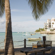 Park benches harbor St. Lawrence Gap Barbados — Stock Photo