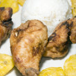 Stock Photo: Fried chicken tostones and white rice