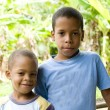 Two children smiling portrait Corn Island Nicaragua — Stock Photo
