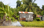 Garbage burning jungle clapboard house Corn Island Nicaragua — Stock Photo