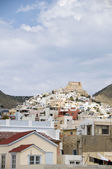 View of port town Syros Cyclades Greece — Stock Photo
