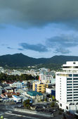 Skyline view downtown port of spain trinida with performing arts — Stock Photo
