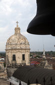 Towers of church of la merced granada nicaragua view of city roof — Stock Photo
