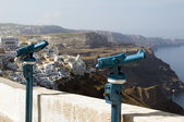 Viewing telescope binocular station over santorini greek island — Stock Photo