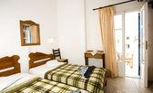 Interior guest house triple room Greek Island Ios Cyclades Greece — Stock Photo