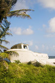 Old fishing boats on land corn island nicaragua — Stock Photo