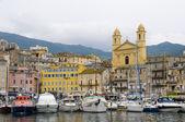 Old port Bastia Corsica France with St. John the Baptist church — Stock Photo