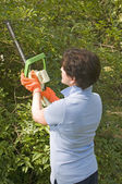 Suburban housewife trimming bushes with hedge trimmer tool — Stock Photo