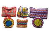 Colorful purses handbags satchels made in central america — Stock Photo