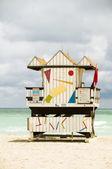 Cabane de plage emblématique sauveteur sud beach miami en floride — Photo