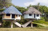 Beach houses corn island nicaragua — Stock Photo