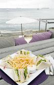 Lunch with wine harbor St. Eustatius Oranjestad — Stock Photo
