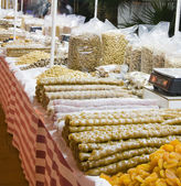 Candy and fruits nuts local to cyprus — Stock Photo