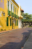 Colorful street historic architecture Cartagena Colombia South America — Stock Photo