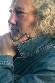 Handsome middle age man denim jacket — Stock Photo