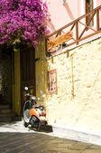 Typical street scene motorbike Syros Cyclades Greek Islands — Stock Photo