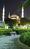 Blue Mosque Hippodrome park night Istanbul Turkey — Stock Photo