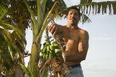 Native man nicaragua avec bananes plantains banane — Photo