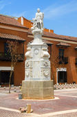 Statue Christopher Columbus Plaza de la Aduana Cartagena Colombia — Stock Photo
