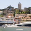 Harbor yachts view of Old City Fortress Cannes France French  Riviera - Stock Photo