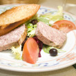 French country style pork terrine pate salad — Stock Photo