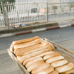 Bageleh bread Jerusalem street market view of Damascus Gate Israel — Stock Photo