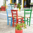 Greek Island cafe setting Plaka Milos Cyclades — Stock Photo
