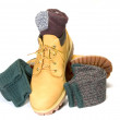 Rugged outdoor low cut oxford work shoe boot ragg socks — Stock Photo