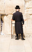 Hasidic Chassidic Jews praying at The Western Wall Jerusalem Israel — Stock Photo