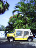 Island vehicle flat tires by palm trees Bequia St. Vincent and — Foto de Stock