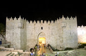 Damascus Gate Old City Jerusalem night light — Stock Photo