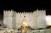 Damascus Gate Old City Jerusalem night light — Stock Photo