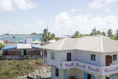 Town harbor dock port view typical Caribbean house architecture — Stock Photo