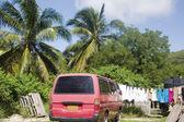 住宅街现场范与洗衣挂棕榈树克利夫顿联盟岛 — 图库照片