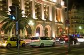 Promenade de Anglais casino boulevard cars night Nice France — Stock Photo