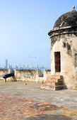 The Wall cannon view of Bocagrande Cartagena Colombia South America — Stock Photo