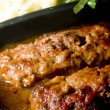 Meat loaf micro wave with mashed potatoes string beans — Stock Photo #23094524