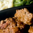 Meat loaf micro wave with mashed potatoes string beans — Stock Photo