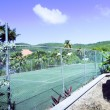 Tennis court tropical island Bequia St. Vincent and the Grenadi — Stock Photo