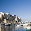 St. julian's harbor malta overdevelopment construction — Stock Photo