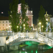 Three Bridges Ljubljanica River Preseren Square Ljublajana — Stock Photo