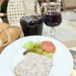 French food pate terrine of rabbit with red wine in cafe  — Stock Photo