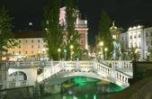 Three Bridges Ljubljanica River Preseren Square Ljublajana — Stock Photo