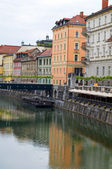 Historic buildings old city Ljubljanica River Ljubljana — Stock Photo