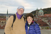 Senior tourist couple in Prague — Stock Photo