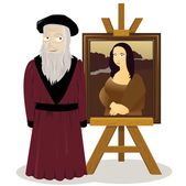 Mona Lisa Easel and Leonardo Da Vinci — Stock Vector