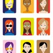 Stock Vector: Set of Female Avatar