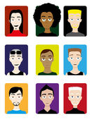 Set of Male Avatars — Stock Vector