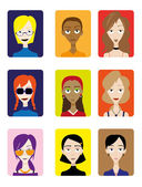 Set of Female Avatar — Stock Vector